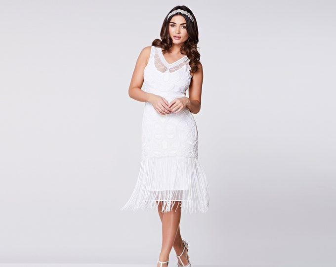 US6 UK10 AUS10 EU38 Victoria White Flapper Dress with Slip 20s Great Gatsby Art Deco Bridesmaids Beach Wedding Jazz age Short Wedding