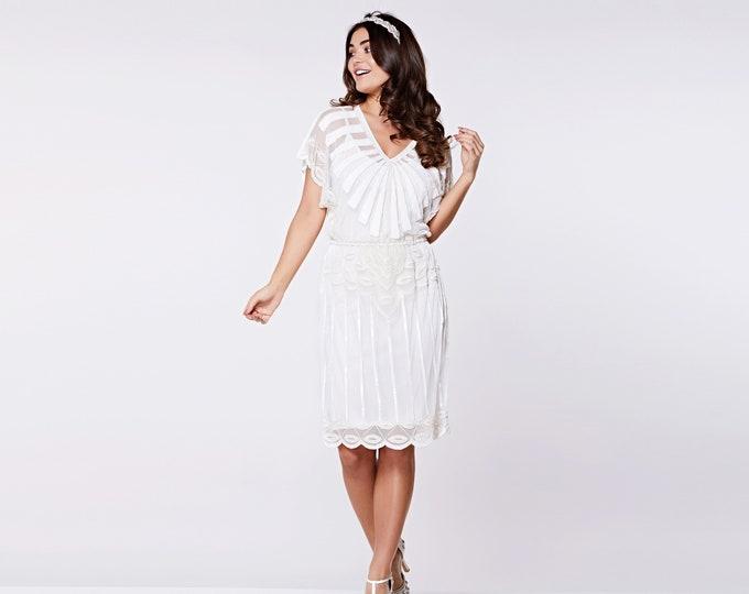 US12 UK16 AUS16 EU44 Sleeve Off White 20s Flapper Great Gatsby Charleston  Downton Beach Wedding Bridesmaid cd7fa11eb
