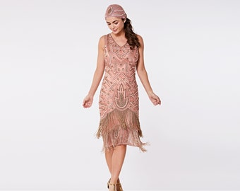 Canada Duty Free Shipping Hollywood Rose Gold Flapper Fringe Dress with Slip 20s Gatsby Art Deco Charleston Bridesmaid Wedding Bridal Jazz