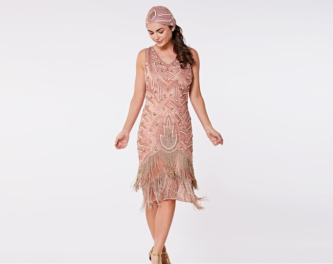 Plus Size US16 UK20 AUS20 EU48 Hollywood Rose Gold Flapper Fringe Dress with Slip 20s Great Gatsby Art Deco Bridesmaid Wedding Bridal Jazz