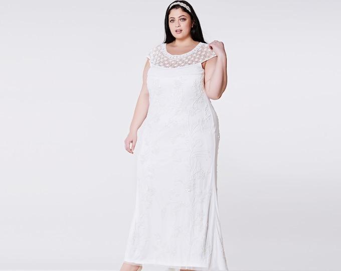 US16 UK20 AUS20 EU48 Plus Size Wedding Reception Gown Off White Prom Maxi Elizabeth Dress 20s Great Gatsby Downton Abbey Beach Art deco Boho