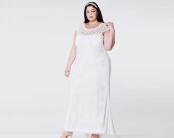 Plus Size Wedding Gown Off White Prom Maxi Elizabeth Dress 20s Great Gatsby Charleston Downton Abbey Beach Wedding Reception Art deco