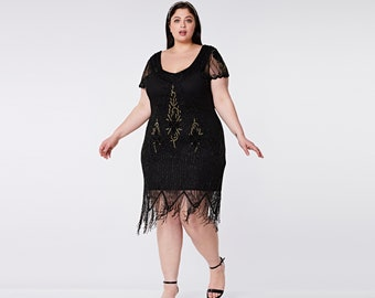 US24 UK28 AUS28 EU56 Plus Size Black Gold Annette 20s Flapper Great Gatsby Downton Abbey Charleston Bridesmaid Wedding Guest Black Tie Dress