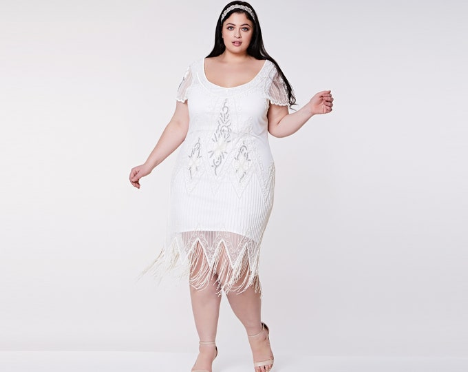 US28 UK32 AUS32 EU60 Plus Size White Annette 20s Flapper Gatsby Downton Abbey Art Deco Bridesmaid Beach Wedding Guest Bridal Shower Dress
