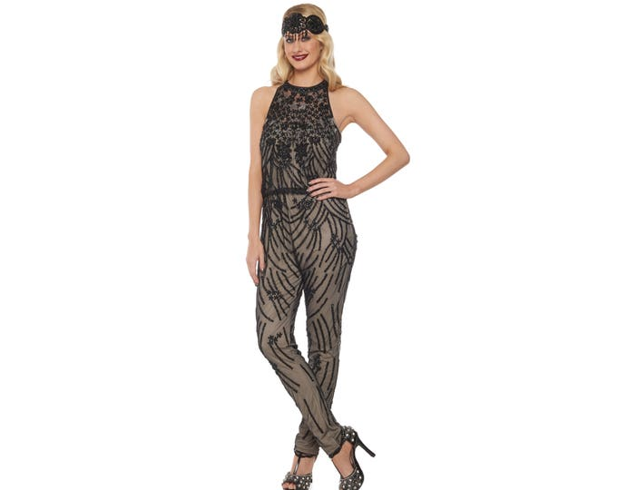 US16 UK20 AUS20 EU48 Plus Size Black Nude Jumpsuit Romper Cora 20s Great Gatsby Art Deco Charleston Downton Abbey Bridesmaid Wedding Beaded