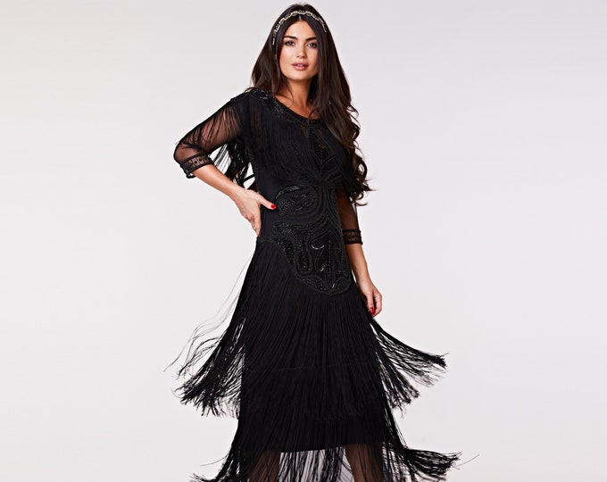 US6 UK10 AUS10 EU38 Glam Gown Black Prom Maxi Dress with Sleeves 20s Flapper Great Gatsby Formal Speakeasy Wedding Bridesmaids prom