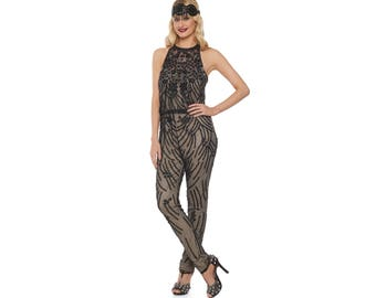 US18 UK22 AUS22 EU48 Plus Size Black Nude Jumpsuit Romper Cora 20s Great Gatsby Art Deco Charleston Downton Abbey Bridesmaid Wedding Beaded