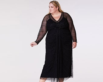 Plus Size Nell Gown Black Prom Maxi Dress with Sleeves 20s Flapper Great Gatsby Formal Speakeasy Wedding Reception Bridesmaids prom