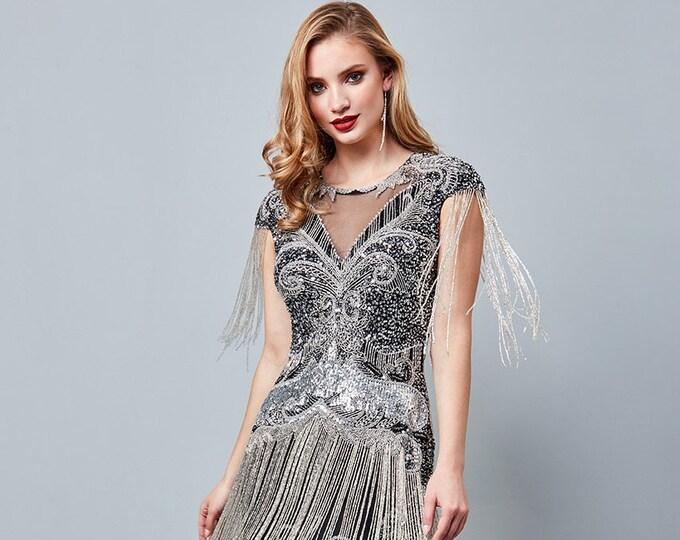 Sybil Black silver Fringe Dress 1920s Vintage inspired Great Gatsby Art Deco Charleston Downton Abbey Bridesmaid Wedding