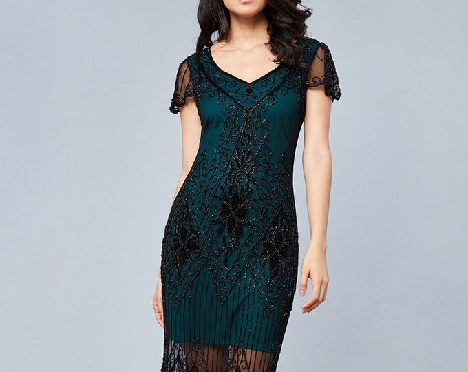 Black Teal Annette Vintage 20s Flapper Great Gatsby Downton Abbey Art Deco Bridesmaid Wedding Guest Black Tie with Sleeves Jazzage Dress