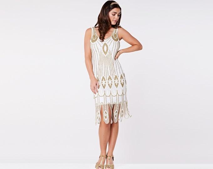 e79269465af US6 UK10 AUS10 EU38 Molly White Wedding Flapper Dress 20s Great Gatsby  Bridesmaid Bridal Shower Beach