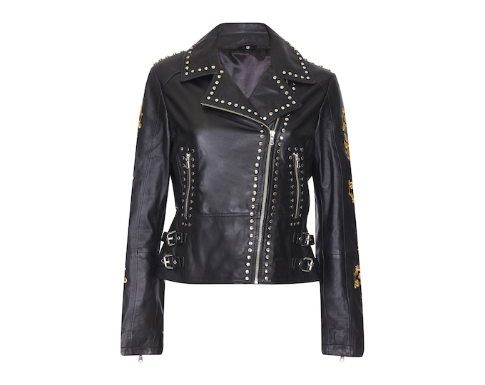 Luna Black Genuine Leather Studded Embroidered Biker Jacket