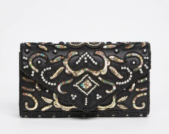 Vintage Inspired Black Gold Elsa Wedding clutch purse bag Hand Embellished 20s Great Gatsby Flapper Charleston Downton Abbey Art Deco New