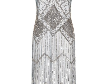 US20 UK24 AUS24 EU52 Isobel Grey Blue Plus size Fringe dress Vintage inspired 1920s Flapper Great Gatsby Beaded Charleston Art Deco Wedding