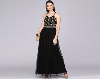 Lilly Drop Waist Long Spaghetti Neck Black Gold Prom Maxi Dress Great Gatsby Art Deco Downton Abbey Charleston Bridesmaid shower reception