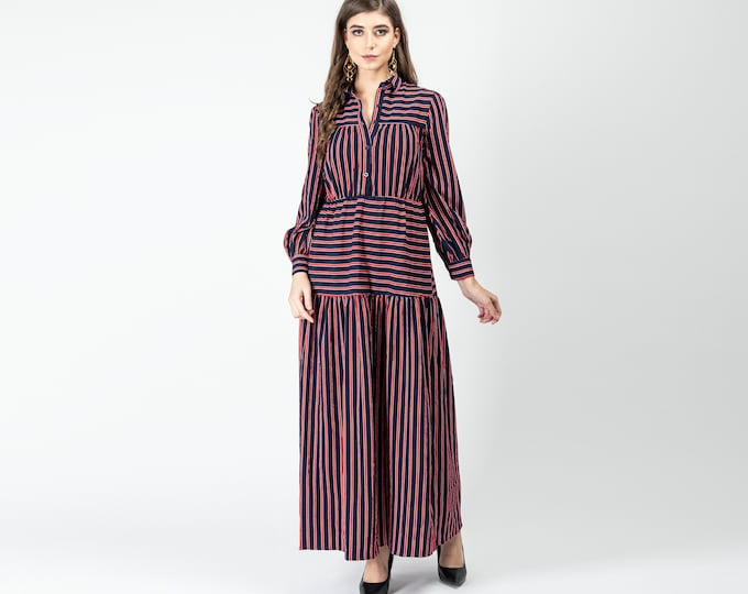 Gatsbylady Zohre Elegant Designer handmade Shirt Dress in Red and Navy Stripes Maxi Dress Great Gatsby Art Deco Downton Abbey Charleston