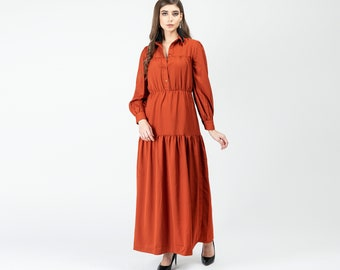 Gatsbylady Gonca Elegant Designer handmade Shirt Dress in Rust Maxi Dress Great Gatsby Art Deco Downton Abbey Charleston