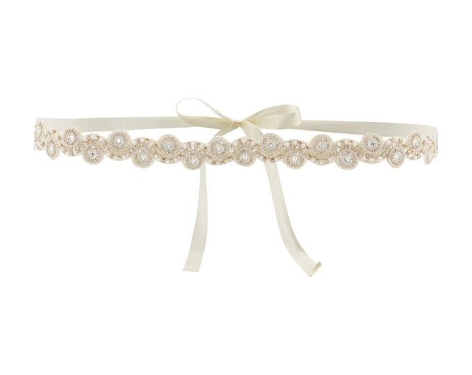 Wedding Sash Belt Ivory Silver April Great Gatsby Flapper Vintage inspired 20s Beaded Charleston Downton Abbey Wedding Art Deco Hand Made