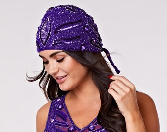 Hollywood Purple hand made head piece Turban Great Gatsby Flapper Vintage inspired 20s Downton Abbey Art Deco Speakeasy