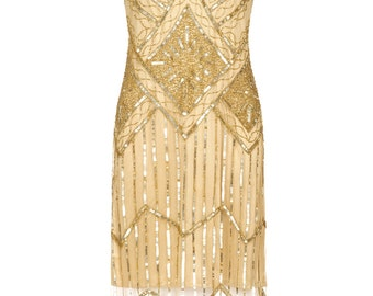 PETITE Length Plus Size UK20 US16 AUS20Isobel Gold Vintage inspired 20s Flapper Great Gatsby Charleston Bridesmaid Wedding guest Party Dress