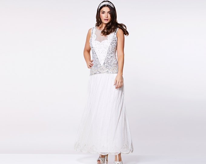Off White Silver Elaina Flapper Maxi Prom Gown Dress 20s Great Gatsby Bridesmaid Wedding reception Bridal Shower Rehearsal Dinner Homecoming