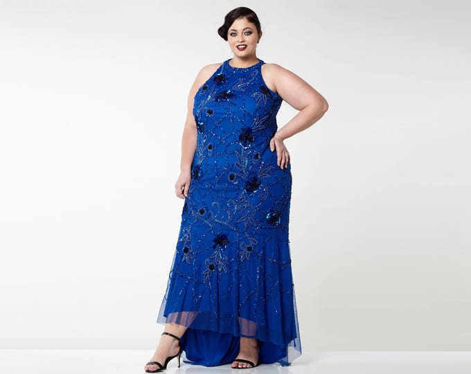 US18 UK22 AUS22 EU50 Plus Size Royal Blue Agnes High Low Gown Long Prom Maxi Formal Dress 20s Gatsby Downton Abbey Bridesmaids Homecoming