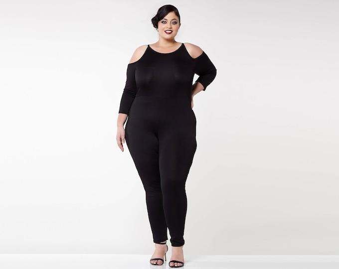 Plus Size Black Bohemian Bodycon Halter Neck Cold Shoulder Emily Jumpsuit