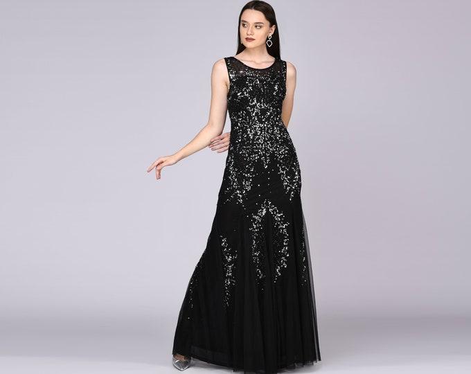 Anna Illusion Neckline Long Black Wedding Gown Prom Maxi Great Gatsby Art Deco Downton Abbey Charleston Bridesmaid Bridal shower reception