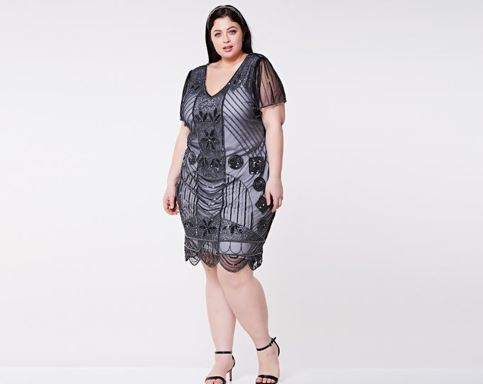US26 UK30 AUS30 EU58 Daisy Black silver Plus size Flapper Dress with Sleeves  1920s inspired Great Gatsby Downton Abbey Charleston Art Deco
