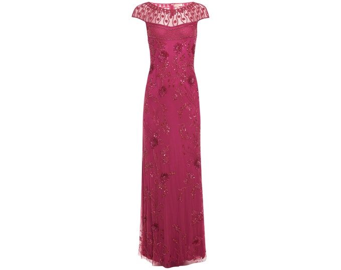 Plus Size US24 UK28 AUS28 EU56 Raspberry Elizabeth Gown Prom Maxi Homecoming Dress 1920s Gatsby Mother of the Bride Bridesmaid Wedding Guest