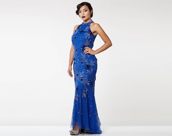 Canada Duty Free Shipping Royal Blue Agnes High Low Gown Long Prom Maxi Formal Dress 20s Gatsby Downton Abbey art Deco Bridesmaid Homecoming