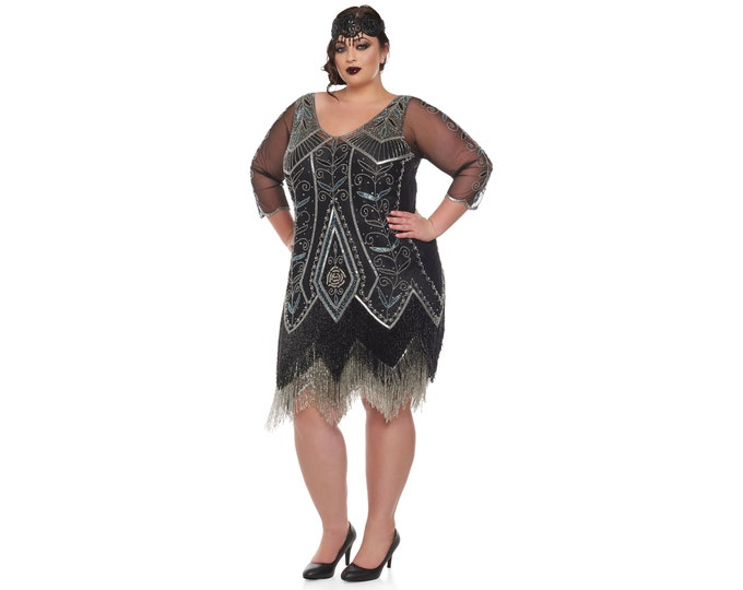 Plus Size Scarlet Black silver Flapper Dress with sleeves Slip Included 20s Vintage inspired Great Gatsby Art Deco Charleston DowntonAbbey