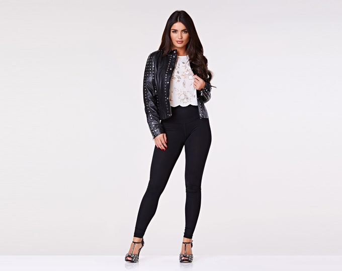 Jezzabel Black Genuine Leather Studded Jacket