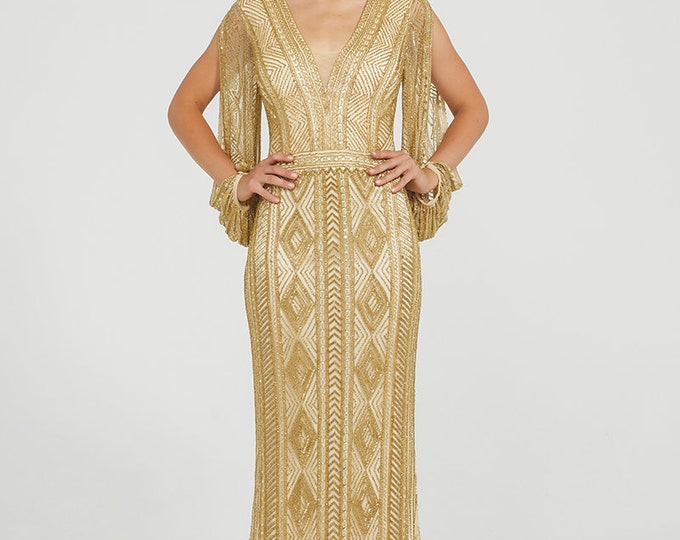 Gold Open Back Gayle Maxi Gown Prom Dress 1920s Great Gatsby Art Deco Downton Abbey Bridesmaid Wedding reception