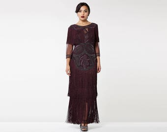 Glam Gown Plum Prom Maxi Dress with Sleeves 20s Flapper Great Gatsby Downton Abbey Formal Speakeasy Wedding Reception Bridesmaids prom