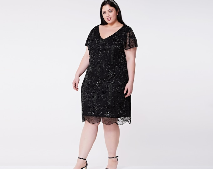 US26 UK30 AUS30 EU58 Downton Abbey Black Plus size Dress with Sleeves Vintage inspired 1920s Flapper Great Gatsby Charleston Wedding guest