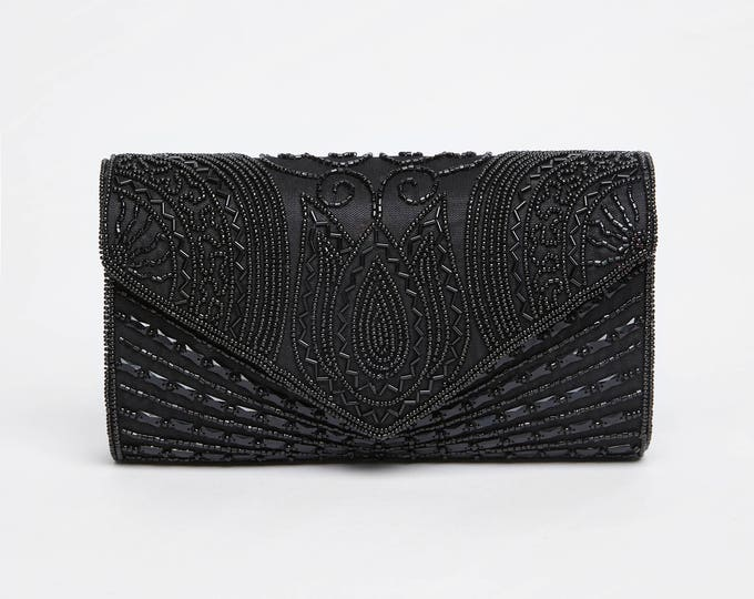 Vintage Inspired Black Beatrice Wedding clutch purse bag Hand Embellished 20s Great Gatsby Flapper Charleston Downton Abbey Art Deco New