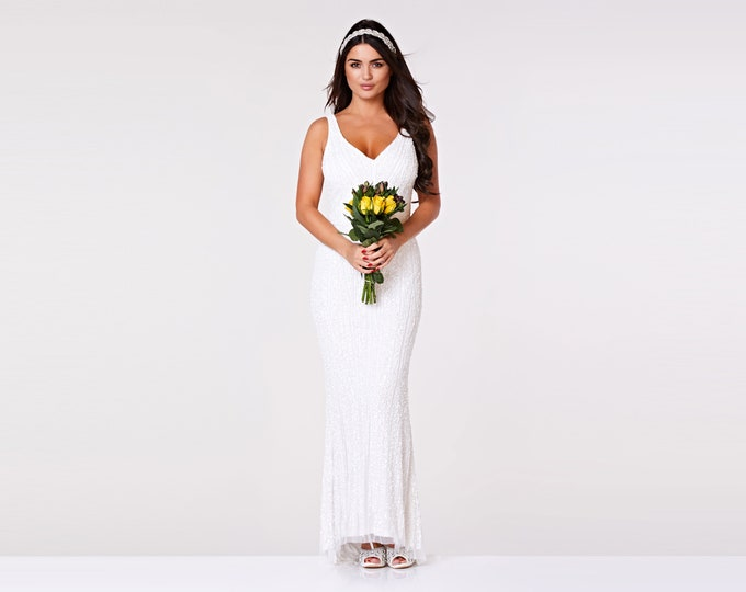 Sophie Long Wedding Gown Maxi Prom White Dress 20s Great Gatsby Art Deco Downton Abbey Charleston Bridesmaid Wedding reception Bridal shower
