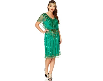 Canada Duty Free Shipping Angel Sleeve Emerald Green 20s Flapper Great Gatsby Wedding Guest Bridesmaid Jazz age Art Deco Dress Handmade