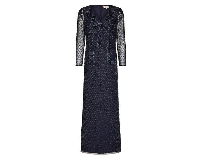Jill Maxi Prom Long Sleeved Navy Blue Dress 20s Embellished Great Gatsby Art Deco Downton Abbey Bridesmaid Wedding reception Bridal shower