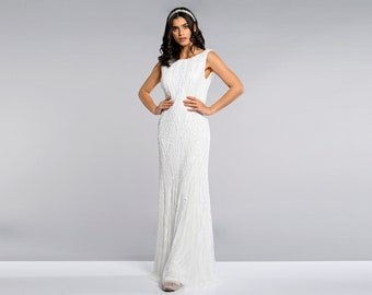 Catherine Cowl Back White Wedding Dress 20s Great Gatsby Art Deco Downton Abbey Bridesmaid Wedding reception Bridal shower