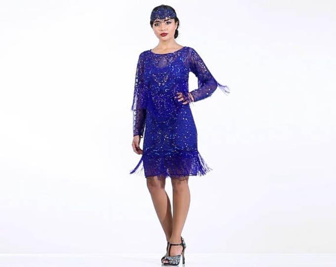 US4 UK8 AUS8 EU38 Petite Frida Royal Blue Fringe dress with Sleeves with Slip 20s Flapper Gatsby ArtDeco Charleston Downton Abbey Bridesmaid