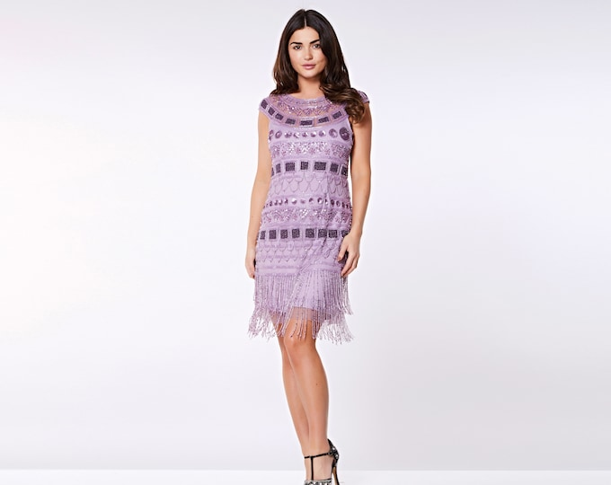 US22 UK26 AUS26 EU54 Plus Size Lilac Flapper Beverley Fringe Dress 20s Great Gatsby Rehearsal Dinner Bridesmaid Wedding Reception Art deco