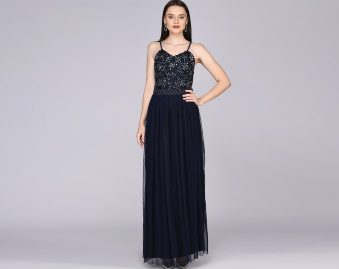 Lilly Drop Waist Long Spaghetti Neck Navy Blue Prom Maxi Dress Great Gatsby Art Deco Downton Abbey Charleston Bridesmaid shower reception