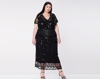 US16 UK20 AUS20 EU52 Black Angel Sleeve Plus Size Prom Maxi Dress 20s inspired Flapper Gatsby Black Tie Downton Abbey Art Deco Bridesmaids