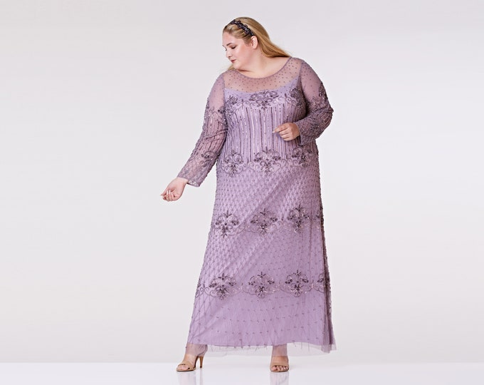 Plus Size US22 UK26 AUS26 EU54 Lavender Lilac Prom Maxi Dress with Sleeves Dolores 1920s Mother of the Bride Wedding Bridesmaids Homecoming