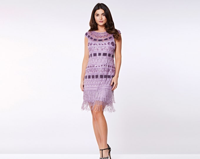 US16 UK20 AUS20 EU48 Plus Size Lilac Flapper Beverley Fringe Dress 20s Great Gatsby Art Deco Rehearsal Dinner Bridesmaid Wedding Reception