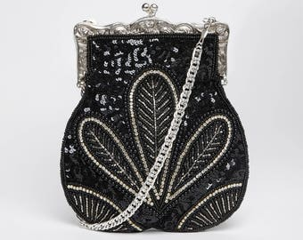 Vintage Inspired Formal Prom Hand Bag Dollie Black Silver Hand Embellished 20s Great Gatsby Flapper Charleston Downton Abbey Art Deco New
