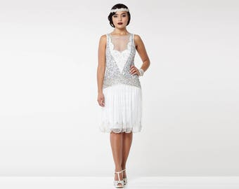 off white silver elaina flapper dress 1920s great gatsby art deco downton abbey bridesmaid wedding reception bridal shower rehearsal dinner