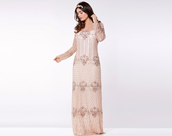 US10 UK14 AUS14 EU42 Champagne Prom Maxi Dress with Sleeves Dolores 20s Flapper Great Gatsby Downton Abbey Wedding Bridesmaids Homecoming